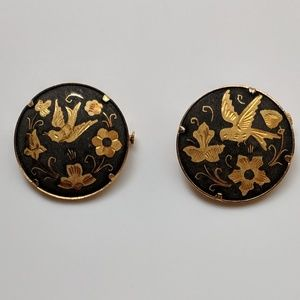 Vintage Damascene Bird and Flower Pins